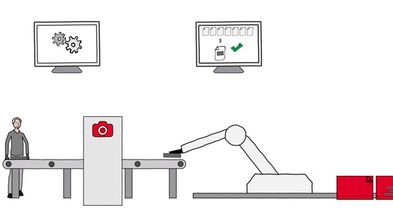 Quality control system robot picking parts from an assembly line