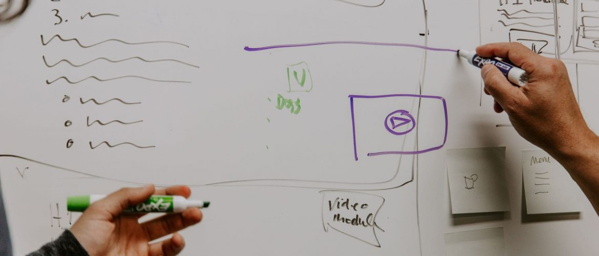 working with us white dry erase board with website diagram